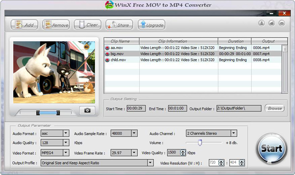 WinX Free MOV to MP4 Converter Screenshot