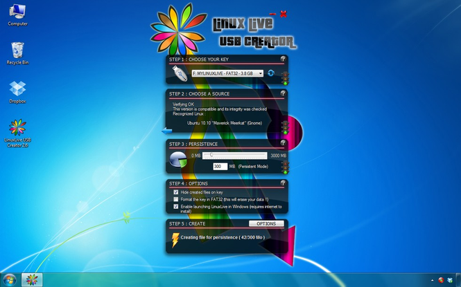 LinuxLive USB Creator Screenshot