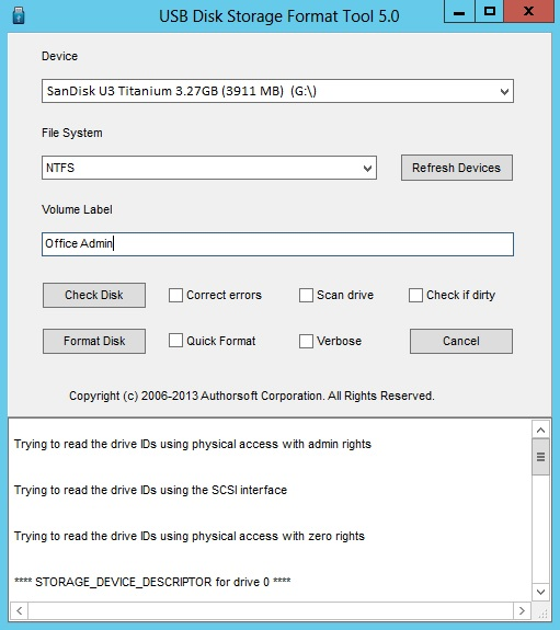 USB Disk Storage Format Tool Screenshot