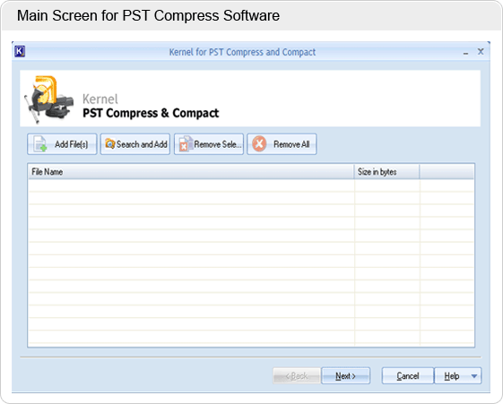 Compress Outlook 2010 PST Screenshot