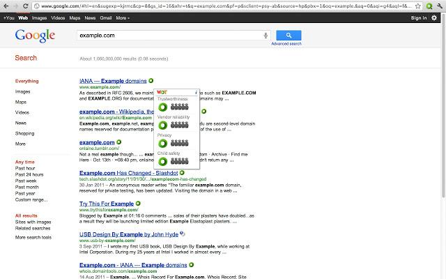 WOT for Chrome Screenshot 1