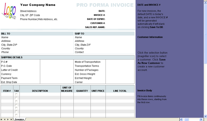 Free Proforma Invoice Template Screenshot