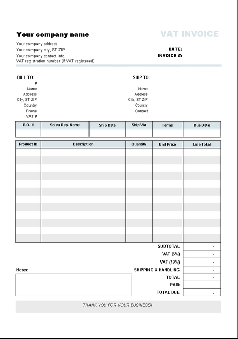 Invoice Template with Two VAT Tax Rates Screenshot