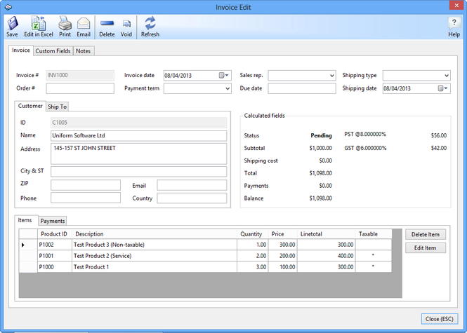Uniform Invoice Software Enterprise Screenshot