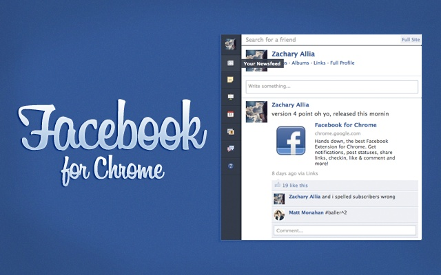 Facebook for Chrome Screenshot