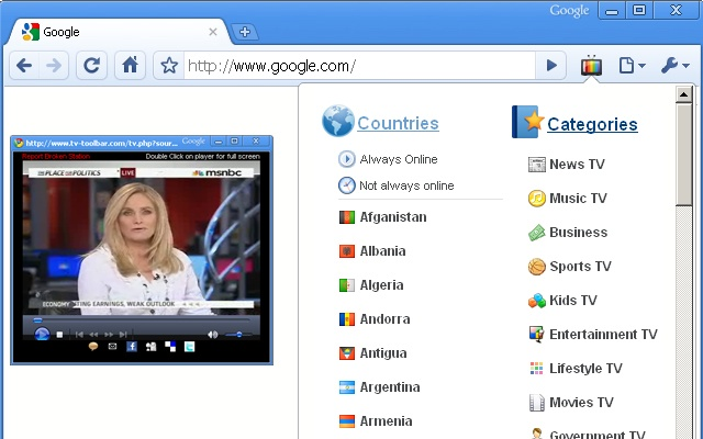 TV for Google Chrome Screenshot