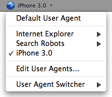 User Agent Switcher Screenshot