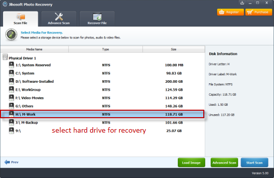 Jihosoft Photo Recovery Screenshot 1