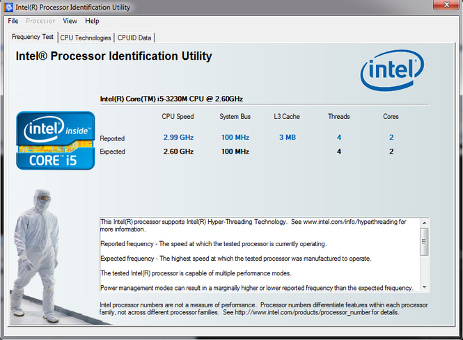 Intel Processor Identification Utility Screenshot 1