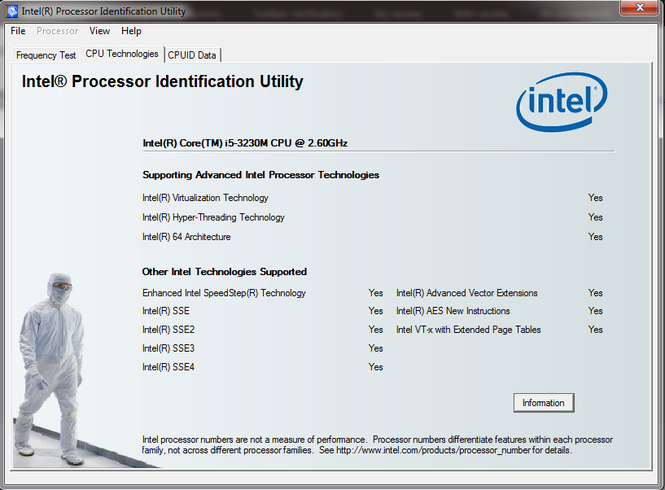 Intel Processor Identification Utility Screenshot 2