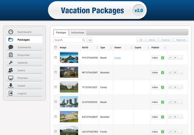 Stivasoft Vacation Packages Listing Screenshot
