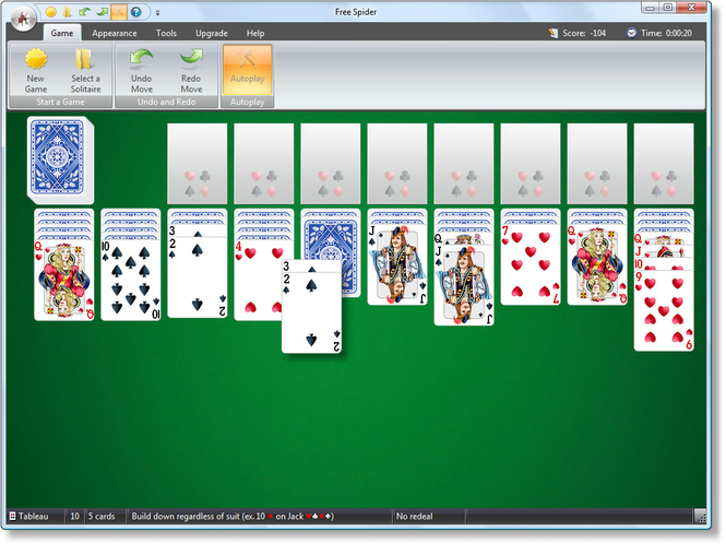 Free Spider Solitaire Screenshot