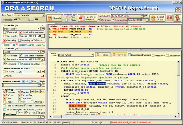 ORACLE Object Search Screenshot