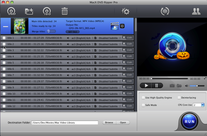 MacX DVD Ripper Pro for Halloween Screenshot 1