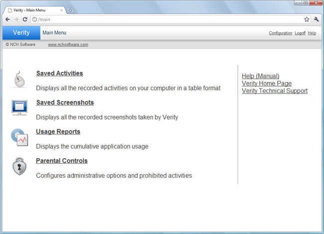 Verity Parental Control Software Screenshot 1