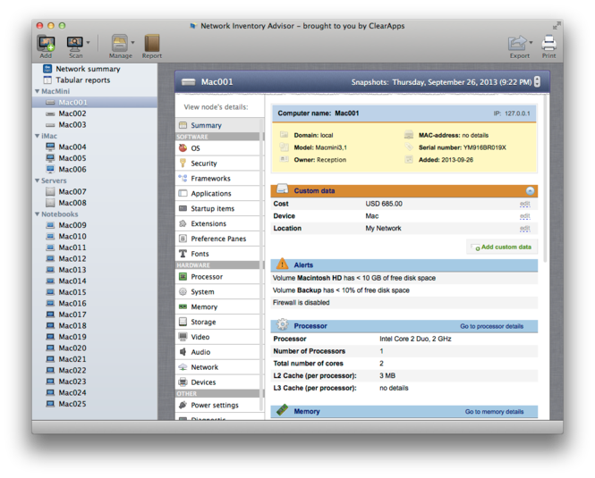 Network Inventory Advisor for Mac Screenshot 1