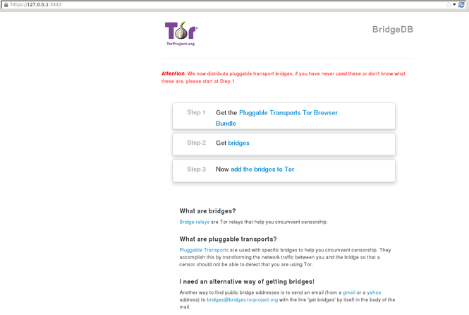 Pluggable Transports Tor Browser Bundle Screenshot 1