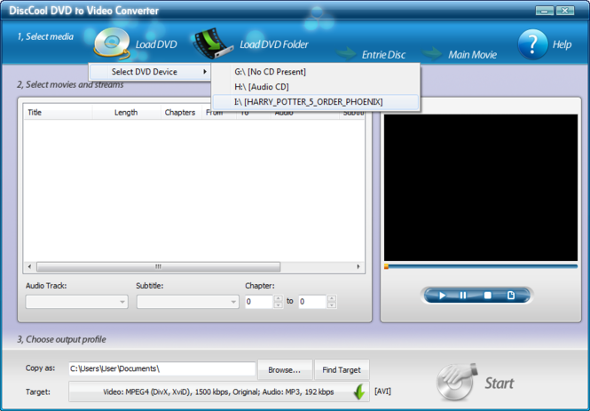 DiscCool DVD to Video Converter Screenshot