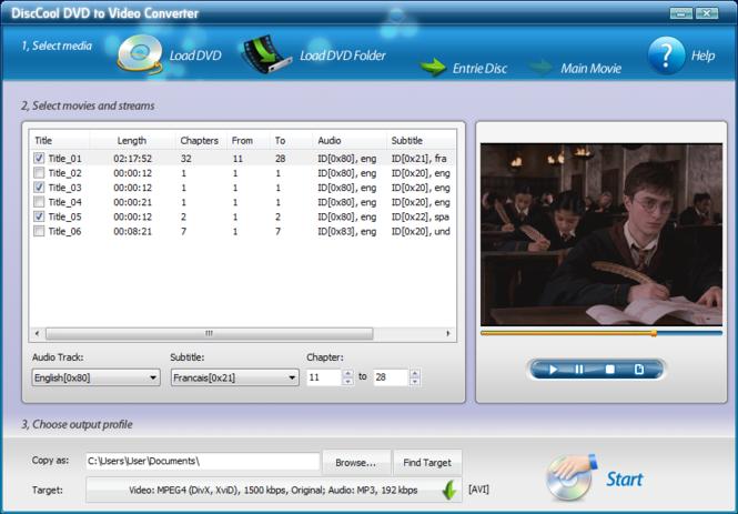 DiscCool DVD to Video Converter Screenshot 2