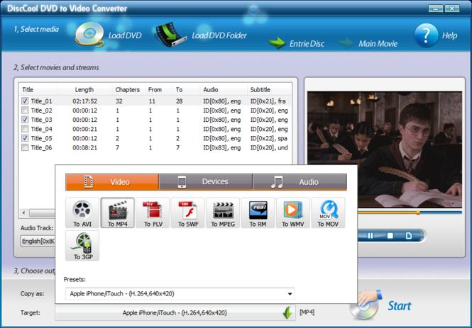 DiscCool DVD to Video Converter Screenshot 3