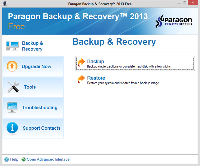 Paragon Backup & Recovery Screenshot