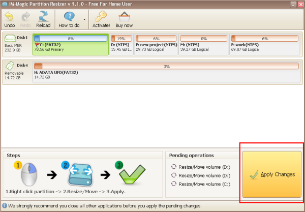 IM-Magic Partition Resizer Free Screenshot 1