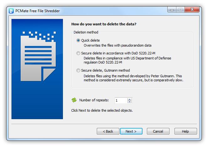 PCMate Free File Shredder Screenshot