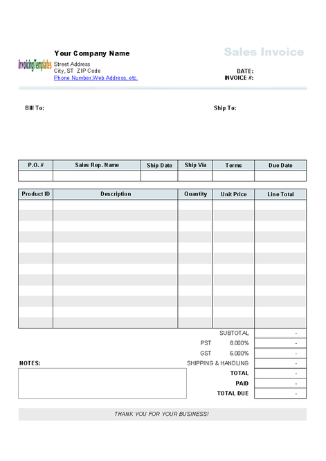 Sales Invoicing Template Screenshot
