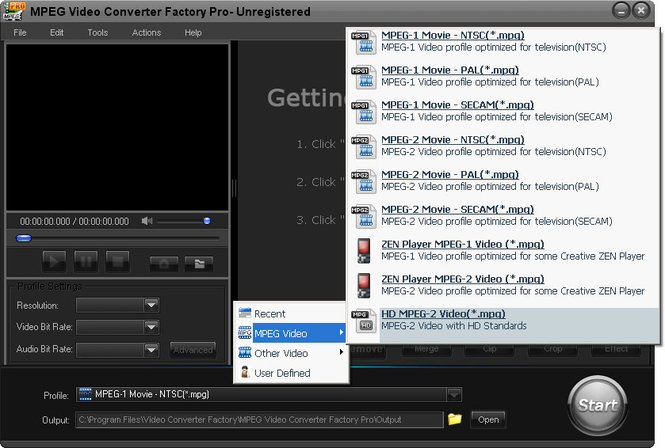 MPEG Video Converter Factory Pro Screenshot