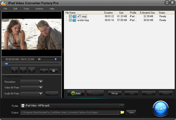 iPad Video Converter Factory Pro Screenshot 1
