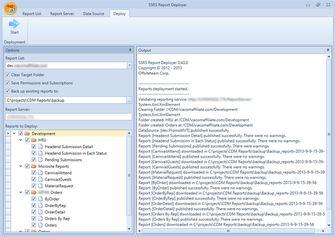 SSRS Report Deployer Screenshot