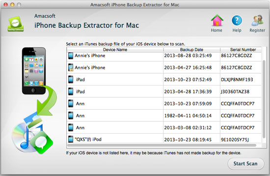 Amacsoft iPhone Backup Extractor Mac Screenshot