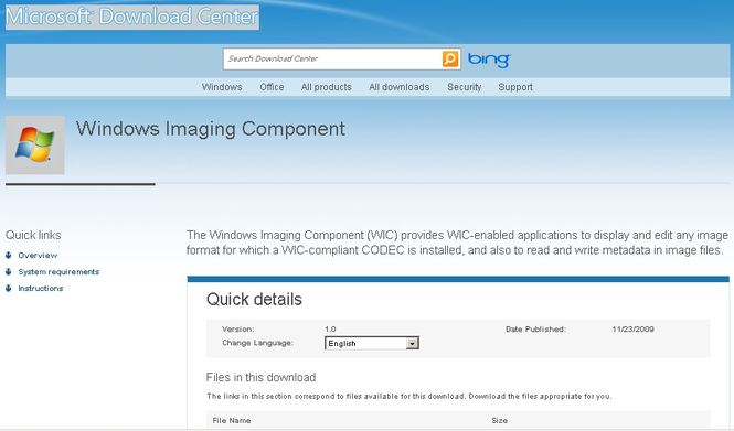 Microsoft Windows Imaging Component Screenshot