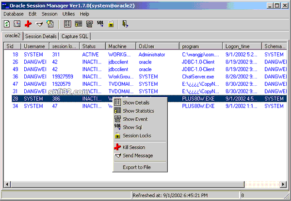 Oracle Session Manager Screenshot 3