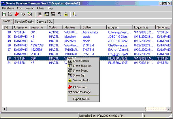 Oracle Session Manager Screenshot