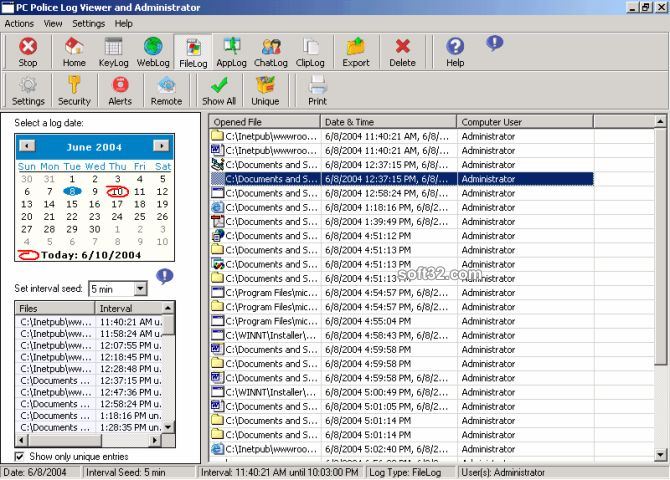 PC Police KeyLogger Screenshot