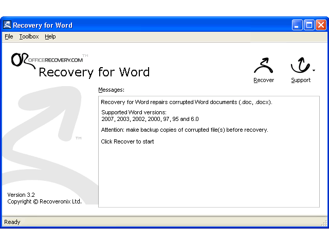 Recovery for Word Screenshot
