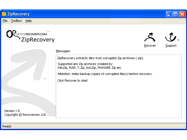 ZipRecovery Screenshot