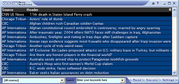 News Headlines Screenshot