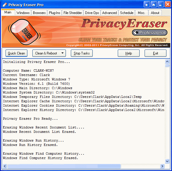 Privacy Eraser Pro Screenshot