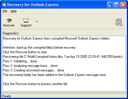Recovery for Outlook Express Screenshot