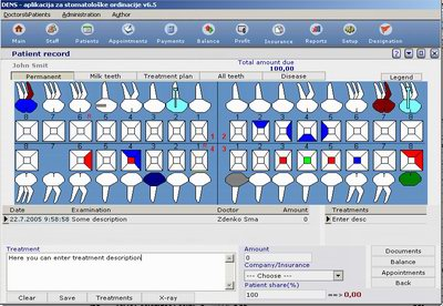 Dental clinic software Screenshot