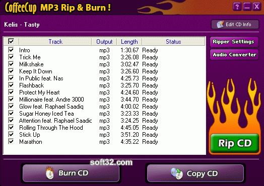CoffeeCup MP3 Rip & Burn Screenshot 2
