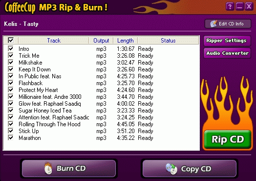 CoffeeCup MP3 Rip & Burn Screenshot 1