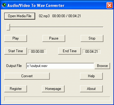 Audio/Video To Wav Converter Screenshot 1