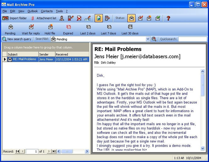 Mail Archive Pro Screenshot