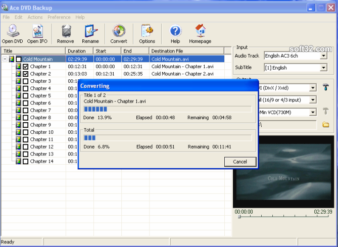 Ace DVD Backup Screenshot