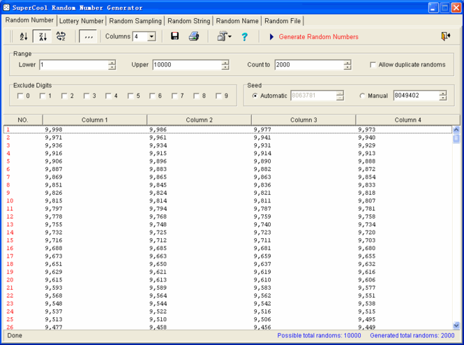 SuperCool Random Number Generator Screenshot