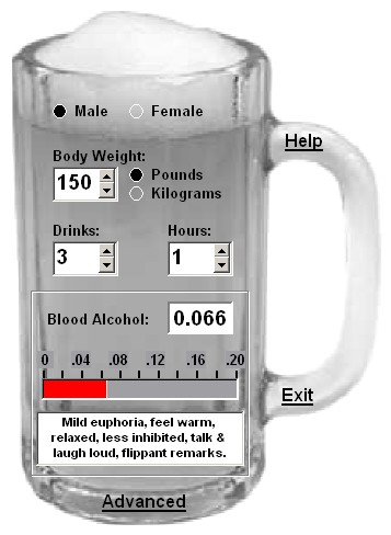 Cheers! Blood Alcohol Calculator Screenshot