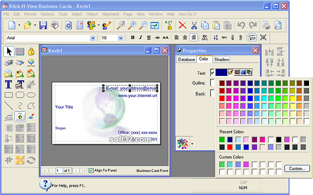 Klick-N-View Business Cards Screenshot